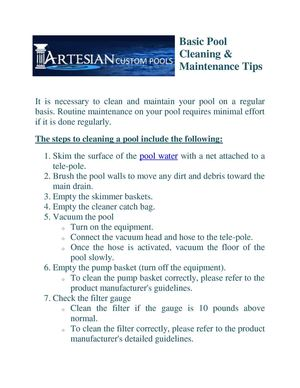Basic Pool Cleaning & Maintenance Tips