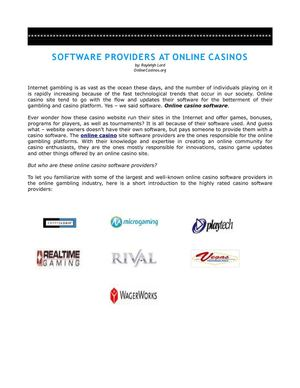 Software Providers Of Online Casinos