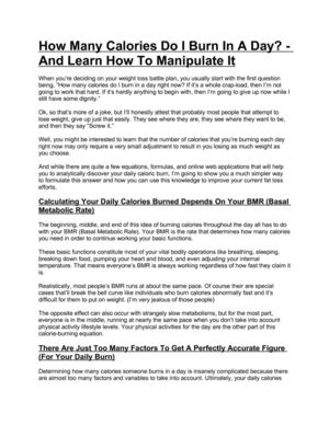 How Many Calories Do I Burn in a Day - Learn How to Manipulate It