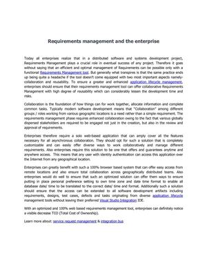 Requirements management and The Enterprise