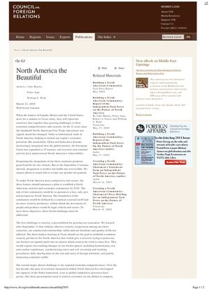 NORTH AMERICA THE BEAUTIFUL By John Manley, Pedro Aspe and William F. Weld (CFR.ORG, Op-Ed March 23, 2005)