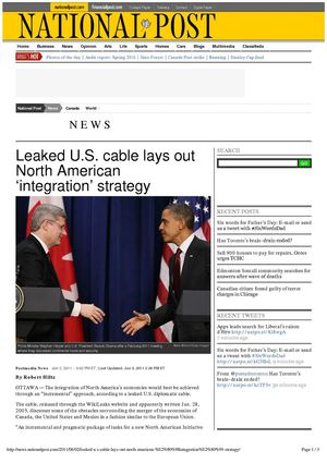 LEAKED U.S. CABLE LAYS OUT NORTH AMERICAN 'INTEGRATION' STRATEGY (National Post, 2 June 2011)