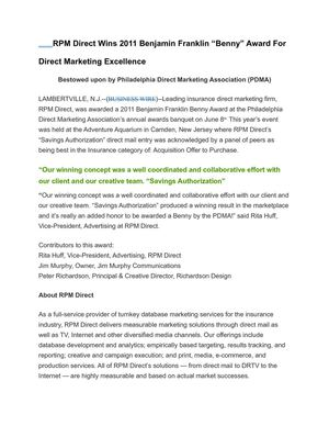 "RPM Direct Wins 2011 Benjamin Franklin ""Benny"" Award For Direct Marketing Excellence"