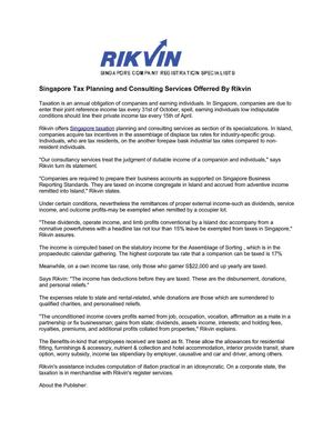 Singapore Tax Planning and Consulting Services Offerred By Rikvin