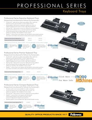 Fellowes 8018001 Professional Series Compact Keyboard Tray Spec Sheet