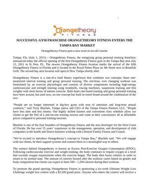 SUCCESSFUL GYM FRANCHISE ORANGETHEORY FITNESS ENTERS THE TAMPA BAY MARKET