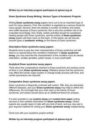 Qualities Of A Good Leader Essay Down Syndrome Essay Writing Various Types Of Academic Projects Essay On Self Reliance also Alcohol Essay Calamo  Down Syndrome Essay Writing Various Types Of Academic  Essay On School Uniforms
