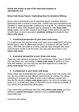School dress code debate essay