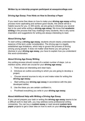 Calam O Driving Age Essay Free Hints On How To Develop A Paper