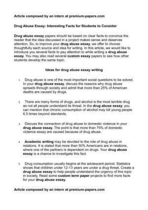 Structure Of A Essay Drug Abuse Essay Interesting Facts For Students To Consider Essays Written By Maya Angelou also Essay About Autism Calamo  Drug Abuse Essay Interesting Facts For Students To Consider Fact Essay