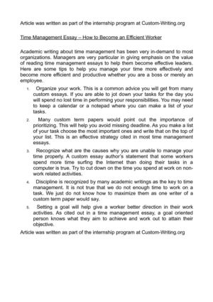Nick Vujicic Essay  A Personal Experience Essay also Comparison And Contrast Essay Topics Calamo  Time Management Essay  How To Become An Efficient  Njhs Essay Sample