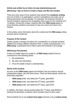 Long Essay On Environmental Pollution Dna Essay Tips On How To Create A Paper And Win The Contest Loneliness Essay also Research Persuasive Essay Calamo  Dna Essay Tips On How To Create A Paper And Win The Contest Example Of Illustrative Essay