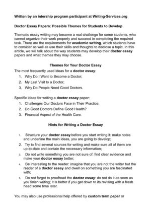 essay writing on if i become a doctor