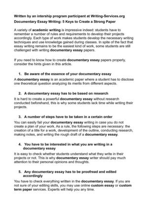 Calamo  Documentary Essay Writing  Keys To Create A Strong Paper Documentary Essay Writing  Keys To Create A Strong Paper