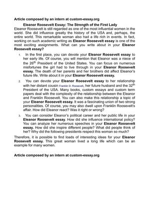 High School Entrance Essays Eleanor Roosevelt Essay The Strength Of The First Lady High School Essay Writing also Proposal Essay Example Calamo  Eleanor Roosevelt Essay The Strength Of The First Lady Sample Argumentative Essay High School