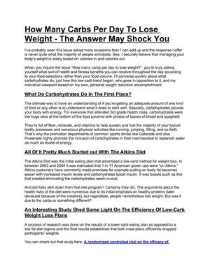 Calaméo How Many Carbs Per Day To Lose Weight The Answer May Shock You