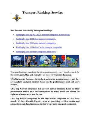 Calaméo - Transport Rankings Best Services