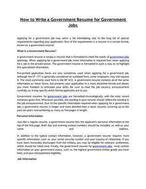 calaméo how to write a government resume for government jobs