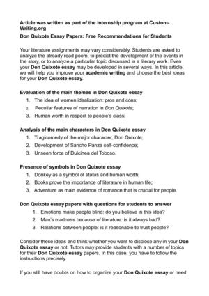 Thesis Statement Examples For Narrative Essays Don Quixote Essay Papers Free Recommendations For Students Sample Apa Essay Paper also Examples Of Thesis Statements For English Essays Calamo  Don Quixote Essay Papers Free Recommendations For Students High School Graduation Essay