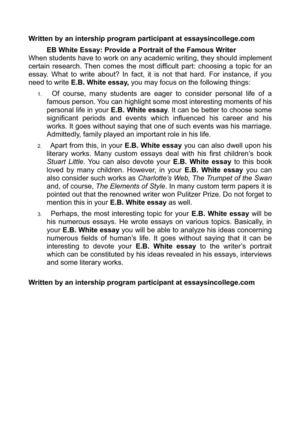 Calamo  Eb White Essay Provide A Portrait Of The Famous Writer Eb White Essay Provide A Portrait Of The Famous Writer Website Proposal also Hrm Assignment Help  Extended Essay Topics English