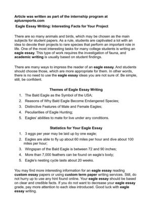Calamo Eagle Essay Writing Interesting Facts For Your Project