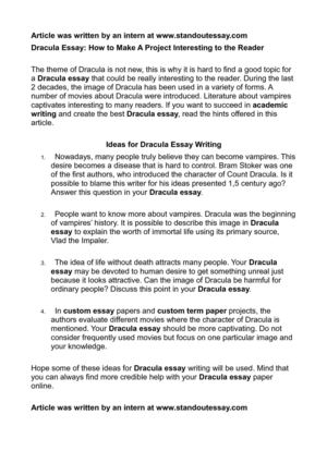 Writing Cause And Effect Essays Dracula Essay How To Make A Project Interesting To The Reader Essay On Peace also Stem Cell Essay Calamo  Dracula Essay How To Make A Project Interesting To The Reader Essays On Perseverance