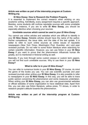 English Essay About Environment El Nino Essay How To Research The Problem Properly How To Write An Essay Thesis also Genetically Modified Food Essay Thesis Calamo  El Nino Essay How To Research The Problem Properly Research Paper Essay Topics