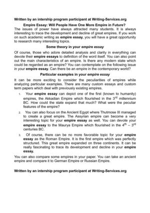 Science And Society Essay Empire Essay Will People Have One More Empire In Future Essays On English Language also Graduating High School Essay Calamo  Empire Essay Will People Have One More Empire In Future Business Studies Essays