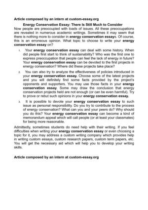 Calaméo - Energy Conservation Essay: There Is Still Much to Consider