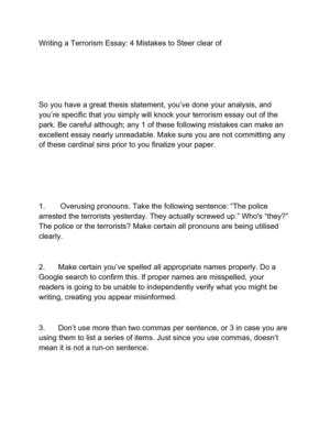 Example Thesis Statements For Essays Writing A Terrorism Essay  Mistakes To Steer Clear Of Essay On Health Care Reform also Proposal Argument Essay Topics Calamo  Writing A Terrorism Essay  Mistakes To Steer Clear Of Thesis Statement For Process Essay