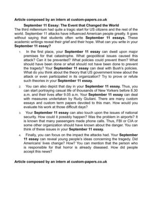 Oedipus Tragic Hero Essay September  Essay The Event That Changed The World Essay On Ramadan also Examples Of Persuasive Speech Essays Calamo  September  Essay The Event That Changed The World Essay On Changing The World