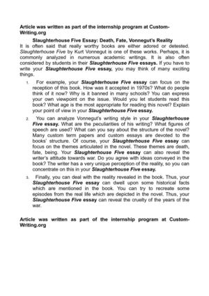Compare And Contrast Essay Papers Slaughterhouse Five Essay Death Fate Vonneguts Reality Science Essay Questions also Science And Technology Essay Topics Calamo  Slaughterhouse Five Essay Death Fate Vonneguts Reality Essays On Business Ethics
