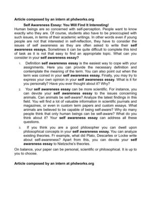 Argumentative Essay Examples For High School Self Awareness Essay You Will Find It Interesting Proposal Essay Topic also First Day Of High School Essay Calamo  Self Awareness Essay You Will Find It Interesting Last Year Of High School Essay