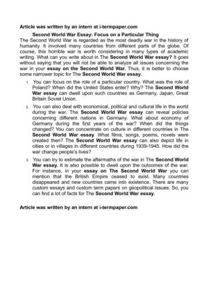 The Importance Of Learning English Essay Second World War Essay Focus On A Particular Thing Research Papers Examples Essays also Essay For High School Application Calamo  Second World War Essay Focus On A Particular Thing Science And Religion Essay