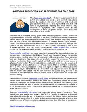 Calaméo - Cold Sore Symptoms, Treatments and Prevention