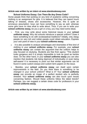 Calamo  School Uniforms Essay Can There Be Any Dress Code School Uniforms Essay Can There Be Any Dress Code