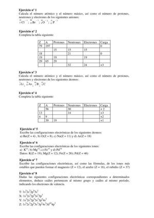 ejercicios atomos y tabla periodica - Ejercicios De Tabla Periodica De Los Elementos Quimicos