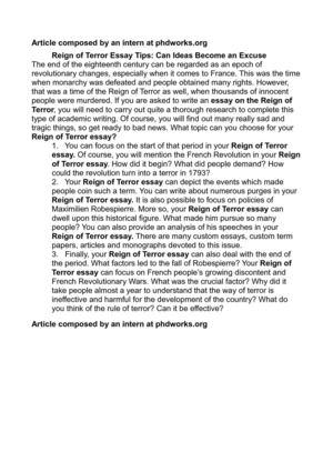 Calamo  Reign Of Terror Essay Tips Can Ideas Become An Excuse Reign Of Terror Essay Tips Can Ideas Become An Excuse