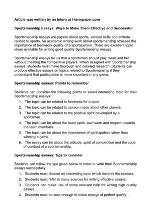 essay on team spirit
