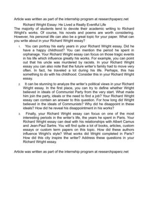 Richard wright research paper top critical thinking ghostwriting website for school