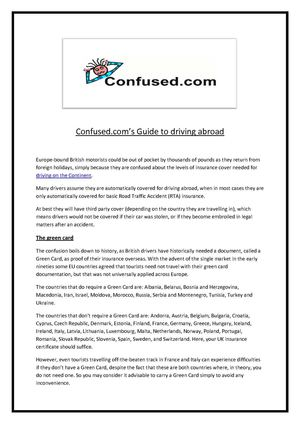 Confused.com Guide to Driving Abroad