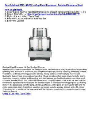 Cuisinart DFP-14BCN 14-Cup Food Processor, Brushed Stainless Steel