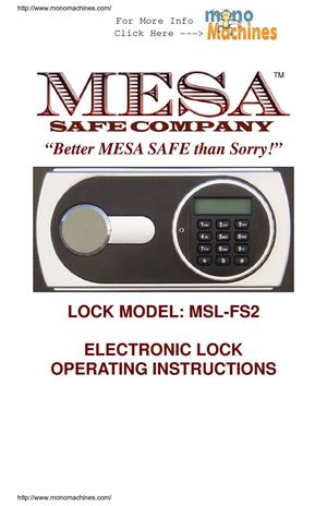Mesa Safe MF50E UL Classified Fire Safe Operating Manual