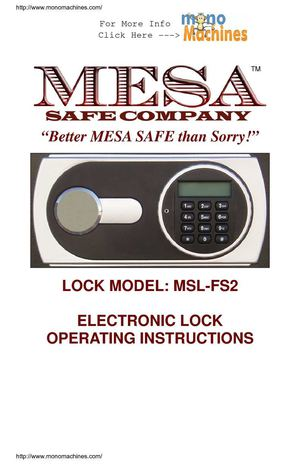 Mesa Safe MF70E UL Classified Fire Safe Operating Manual