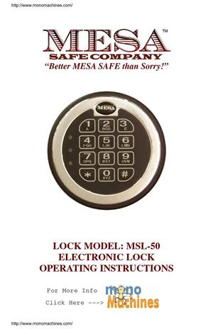 Mesa Safe MSC2520E Burglary and Fire High Security Safe Operating Manual