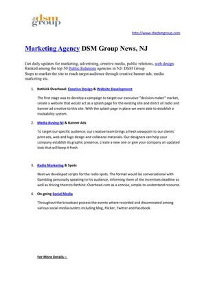 Marketing Agency DSM Group News, NJ