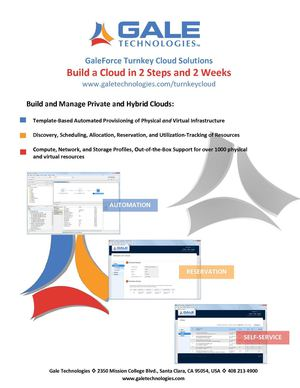 Build a Cloud in 2 Steps and 2 Weeks - A Brief Advertisement by Gale Technologies