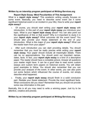 Topics English Essay Report Style Essay Mind Peculiarities Of This Assignment Thesis Argumentative Essay also Persuasive Essays For High School Calamo  Report Style Essay Mind Peculiarities Of This Assignment The Yellow Wallpaper Essay Topics