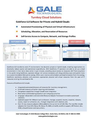 GaleForce 6.0 Software for Private and Hybrid Clouds