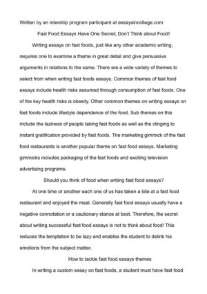 Essay About Learning English Language Fast Food Essays Have One Secret Dont Think About Food Literary Essay Thesis Examples also What Is The Thesis Of An Essay Calamo  Fast Food Essays Have One Secret Dont Think About Food An Essay On Science